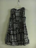 La Blanca by Rod Beattie Women Black and White Stylish 100% Cotton Dress Size L