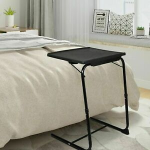 Adjustable Height TV Tray Table with Built-in Cup Holder Folding Laptop Tableee
