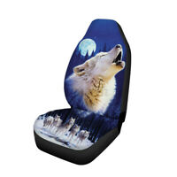 Single Seat Car  Protector Universal Cushion Black Printed Wolf Front