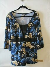 I.N. Studio Black/Blue/Tan Floral Poly/Spandex 3/4 Sleeve Top M2 - Size 2X