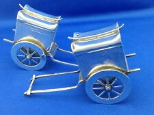 Vintage Rare Sterling Silver Rickshaw Salt & Pepper Shakers