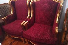 Antique Velvet Arm Chairs gold maroon fabric excellent condition pair or single