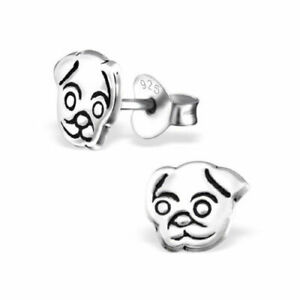 925 Sterling Silver Pug Dog Stud Earrings Animal Ladies Girls - Gift Boxed