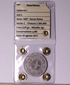Regno d'Italia: 2 lire argento 2°tipo Anno 1887 Umberto Primo