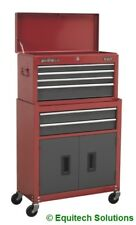 Sealey AP2200BB Topchest ROLLCAB Combi 6 Drawer Ball Bearing Runners Red/grey