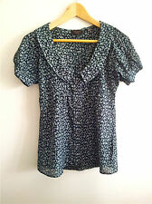 Smart Casual! Ted Baker size 1 navy & white floral top in good condition