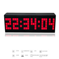 6-digit large LED Clock Countdown Snooze Alarm 12/ 24hrs Temperature Silent(Red)