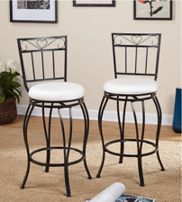 Bar Counter Stools Set Of 2 Round Metal High Back 30-Inch Traditional Pub Chairs