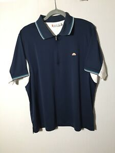 ellesse Mens Navy Blue Polo Shirt Size L Short Sleeve Great Condition