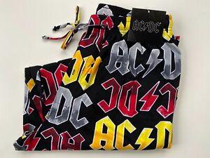 AC/DC Mens Lounge Pants New M L XL Cotton Pajama Bottoms Rock Band Black Red NWT