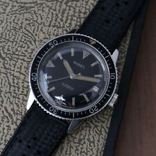 Vintage Nobel Swiss Made Mens Diver Watch Beautiful Warm Patina Running 37.5mm