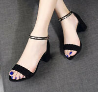 Women's Peep Toe Fashion Sandals Block Mid Heels Solid Buckle Ankle Shoes Size 8