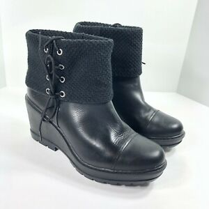 Timberland Kellis Black Fold-Down Ankle Boots Wedges A1IJS015 Women's Size 10 US