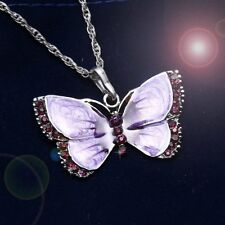 Vintage Butterfly Crystal Rhinestone Pendant Necklace Chain Women Jewelry