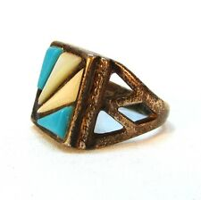 Vintage Men's Southwest Sterling Silver Turquoise and Mother or Pearl Ring