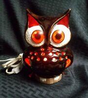 Vintage Ceramic Owl Night Light Lamp 2 Piece - Tested Works