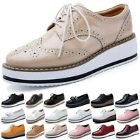Lady Lovely Platform Wedge Heel Shoes Flat Lace Up Brogue Oxford Chunky Creeper