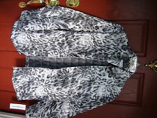 Alfred Dunner Ladies Zip-Front Jacket 18W Gray Multi Animal Print Length 29,5 in