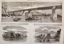 1859 THE GREAT VICTORIA TUBULAR RAILWAY BRIDGE OVER ST LAWRENCE RIVER MONTREAL