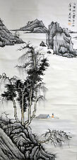 Vintage Chinese Watercolor Landscape Wall Hanging Scroll Painting after Wu Hufan