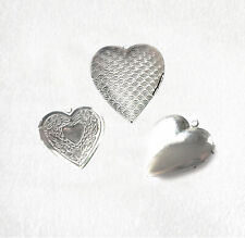 Heart shaped hinged locket stainless steel for pendant, charms, 3 styles Pkt 1