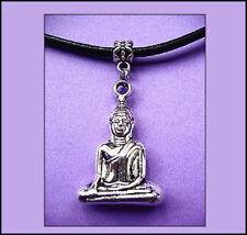 """BUDDHA  PENDANT -  ON 3MM LEATHER  18"""" MAGNETIC CLASP"""
