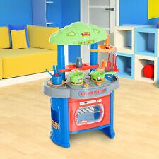 HOMCOM Cocinita con Luz Sonido y 12 Accesorios Cocina de Juguete para niños
