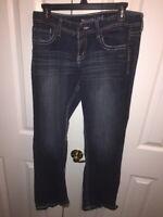 Maurices Womens Straight Leg Jeans Blue Dark Wash Stretch 5/6 Short