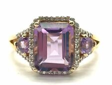Sterling 925 Emerald Cut Trillion Purple Amethyst / Diamond Halo Cocktail Ring 7