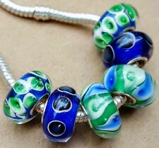 Green Blue Teal Peacock Tail Feather Single Core European Murano Glass Beads