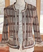 Chico's Size 0 Brown Knit Cardigan Open Front Sweater Top Fringe Women's (AG)