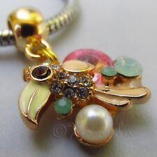 Parrot Gold Plated Large Hole Rhinestone Charm For European Charm Bracelets