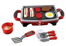 Kitchen Toy Play Food Breakfast Griddle Electric Stove Grill Set Cook Kid Gift