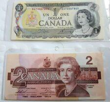 1973 & 1986 CANADA 1 DOLLAR BILL and 2 DOLLAR BILL in sleeve