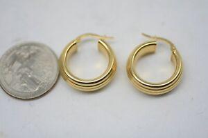 18K Yellow Gold Milor Hollow Hoop Earrings - 7/8 Inch - 3.2 Grams A3