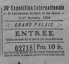 PARIS GRAND PALAIS BILLET TICKET ENTREE SALON AUTOMOBILE 1926