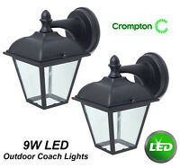 9W LED Outdoor Coach Lantern Lights Black Wall Mount Exterior Alisio CED7110