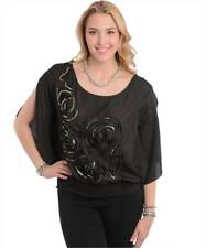 NEW..Stylish Elegant Plus Size Black Top with Embellished Rosette..Sz16/1xl