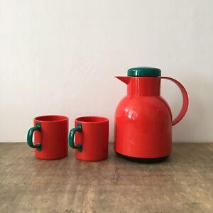 Vintage Rare Retro Emsa Samba Red & Green Thermos Vacuum Flask Cups West Germany