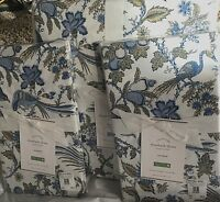 Pottery Barn Elizabeth floral BIRD KING duvet 2 KING shams BLUE
