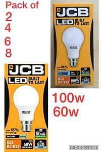 JCB's pack of 2,4,6,&8 100&60w LED cool,day white,B22 bayonet cap big pin fittin