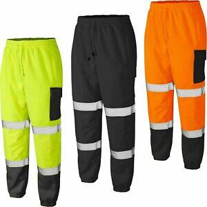 Mens Hi Viz Vis Work Fleece Bottoms Joggers Safety Sweat Pants Jogging Trousers