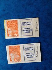 MARIANNE de LUQUET 1F orange N°3101a et 3101aa  provenant carnet N°1508 - N**