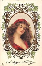 POSTCARD  GLAMOUR    A  Happy  New  Year  Girl in Red Dress       TUCK