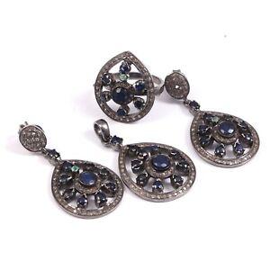 Diamond Sapphire Emerald 925 Silver Ring Earring Pendant Jewelry Set P-1021