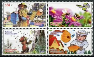 Tajikistan Bees Stamps 2020 MNH Beekeepers Bears Honey Insects Nature 4v Block