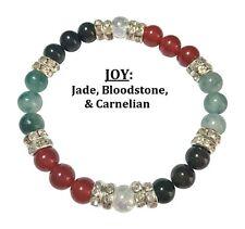 Joy: Jade, Bloodstone, & Carnelian Stretch Bracelet Free Shipping/Handling
