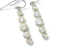 "Fine Round Cut Diamond Bezel Set Yellow Gold Dangling Earrings 3.42Ct 1.25"" 14KT"