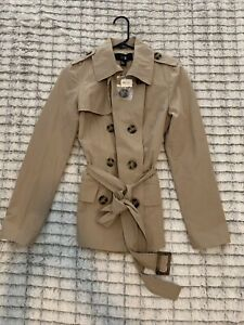 NWT Forever 21 Women's Tan Double Breasted Trench Coat W/ Belt Size Small