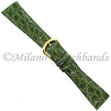 19mm deBeer Olive Genuine Crocodile Turned Edge Hand Stitched Mens Band Short